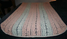 Hand Crocheted Afghan Blanket 3-D Raised Stitches Twin 86x47 Euc Peach