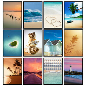 Beach Prints Coastal Art Seaside Prints Bathroom Wall Art - UNFRAMED Posters