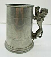 Sheffield English Pewter Tankard Stein Mug Lion Handle