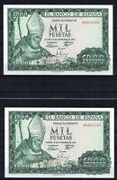 2 billetes España 1.000 pesetas San Isidoro 1965 M6057865  M6057866
