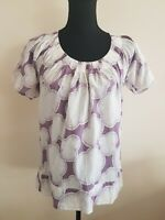 Womens Top Size 8 Purple White French Connection Summer <EE3610Z