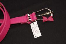 Sweet Pink Skinny Textured Belt w Large Gold Buckle w Cute Bow&Single Loop(S345)