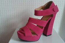 Womens new pink fuschia strappy suede sandal shoe high wedge heel u.k size 3