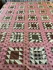 OMG Late1800s Antique Hand Stitched Double Sawtooth Quilt Top  69x80  twin #800