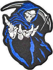 Iron On/ Sew On Embroidered Patch Badge Grim Reaper Reeper Death Die Blue