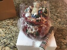 New Longaberger Pottery Santa's Christmas Gift Bag Dip Bowl and Spreader/In Box