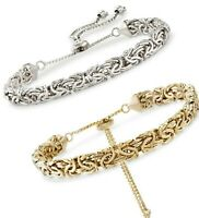 Adjustable Textured Byzantine Bracelet 18K White Gold Plated Unisex ITALIAN MADE