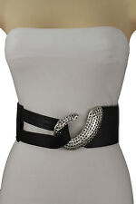 Women Waist Stretch Black Hip Fashion Belt Silver Metal Hook Stones Buckle S M