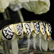 14K Gold Plated Grillz w/ Silver Diamond-Cut 2-Tone 6 Bottom Row Teeth Grills