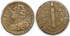 LOUIS XVI 2 SOLS 1792 A L AN 4 G.25