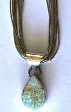 Signed J Inlay Opal Pendant Navajo Sterling Silver Liquid Necklace Beauty!