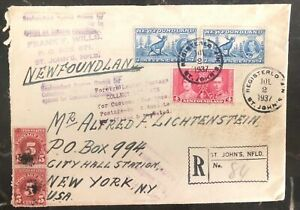 1947 St Johns Newfoundland Registered Postage Due cover To new York USA