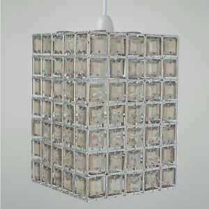 Modern Smoke Jewelled Easy Fit Ceiling Lightshade Shade Pendant Acrylic Crystal
