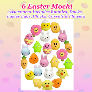 6 Easter/Spring Mochi Toys Squishies New SET OF 6 Bunny Chick Duck Discount 2+🐇