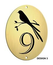 Door / Caravan Brushed Gold Aluminium Oval House,Plaque/Sign/Plate, Black Design