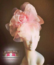 Royal Ascot Fascinator Hat Pink Lg Rose Handmade Flower Silk Kentucky Derby Gift