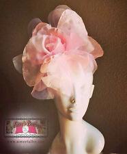 Royal Ascot Fascinator Hat Pink Lg Rose Handmade Flower Silk Kentucky Derby