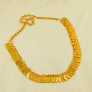 Indian Traditional Gold Ginni Coin Plated Necklace Chain Wedding Fashion Jewelry