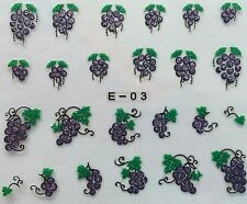 Nail Art 3D Glitter Decal Stickers Grapes E03/BLE841D