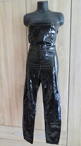ASOS Sexy Lackhose Catsuit black NEU S XS Jumpsuit shiny Overall Glanz Anzug wet