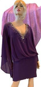Jovani Regal Purple Short Prom Party Dress, Lined Chiffon, Bell Sleeves, Stones