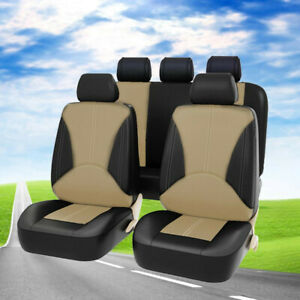 9Pcs Beige/Black Car Seat Covers Front & Rear Full Accessories Set PU Leather