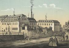 "STOLLBERG (Erzgebirge) - ""Strumpfwaarenfabrik"" - kolorierte Lithografie 1857"