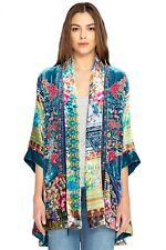 Johnny Was Women's Biza Embroidery Kimono Velvet Floral Multi Silk Kimono M