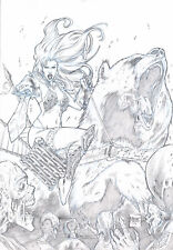 RED SONJA 2 SEXY PENCIL PINUP ART - ORIGINAL COMIC PAGE BY MOZART