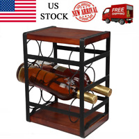 [US-W]Rustic Wood Countertop Wine Rack 6 Bottles Family bar Can store wine rack