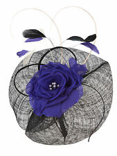 JACQUES VERT BLACK WITH COBALT BLUE DRESS size 12 AND FLOWER FASCINATOR--NEW
