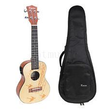 Top Solid Spruce 24 inch Electro-Acoustic Concert Ukulele Guitar w/shouler Bag