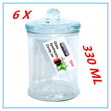 6 X Glass Apothecary Candy Lolly Buffet Jar Candle Waxing Wedding Party 330ML FW
