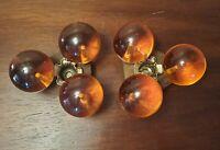 MCM Orange Lucite Candlestick Acrylic  Ball Taper Candle Holder Retro Vtg Set 2