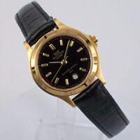 Glycine Damenuhr Quartz Uhr mit Lederband und Datum 3689.29 Vergoldet Watch Neu