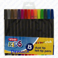 New 15 Pack Dual Tip Felt Pens Childrens Kids Fun Art Colouring Pens Tipped UK ✔