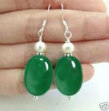Cultured Pearl Silver Hook Dangle Earrings Natural Oval Green Jade & Real White