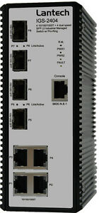 Lantech IGS-2404-E Glasfaser / Ethernet Switch - Hutschienenkompatibel
