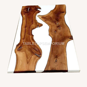 Solid Epoxy Table, White Resin Desk Wooden Acacia Dining Table Tops Decorative