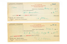 2 Canceled Checks Studebaker & Star Automobile 1927 Arbuckle California Aj Atran