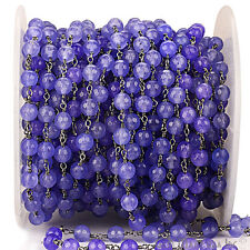 3 Feet Tanzanite Jade 6 mm wire wrapped Rosary Chain Black Plated Making Jewelry