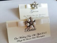 PERSONALISED PEARL CLUSTER WEDDING RECEPTION NAME PLACE CARDS