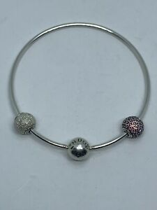 Authentic Pandora Solid 925 Sterling Silver Bangle With 2 Charms