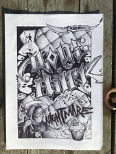 Dessin unique signé - canvas peinture graffiti street art contemporain tag dark