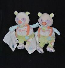 Lot 2 peluche doudou panda Pandy BABY'NAT vert orange mauve mouchoir blanc 23 cm