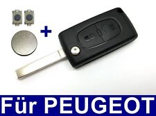 2tasten Spare Flip Key for Peugeot 206 107 207 307 + 2x Push Button + Battery