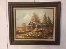 "Painting Fine Brushwork Oil On Canvas Old Barn 23""X26"".C11pix4details.MAKE OFFER"