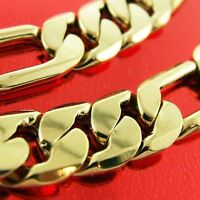 NECKLACE CHAIN GENUINE REAL 18K YELLOW G/F GOLD MEN'S HEAVY SOLID LINK DESIGN