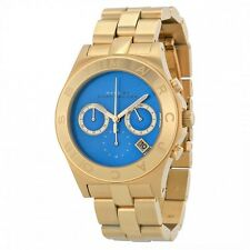 NEW MARC JACOBS BLADE GOLD TONE, S/STEEL,TEAL DIAL,CHRONO BRACELET WATCH-MBM3307