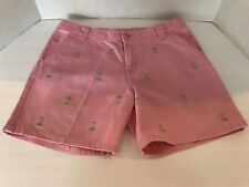 J KHAKI GIRLS SHORTS PINK WITH EMBROIDERED GREEN PALM TREES SIZE (14)